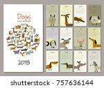 funny dogs  calendar 2018 design | Shutterstock .eps vector #757636144