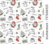 christmas doodle background | Shutterstock .eps vector #757636525