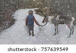that little boy is walking with ... | Shutterstock . vector #757639549