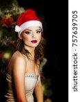 beautiful girl happy new year...   Shutterstock . vector #757639705