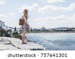 traveller backpacker girl on...   Shutterstock . vector #757641301