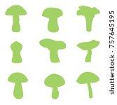 mushrooms silhouette green | Shutterstock .eps vector #757645195