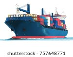 Small photo of ship on white background with container isolate for logistic transportation concept.