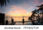 beautiful sunset sea view and...   Shutterstock . vector #757652719