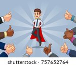 superhero businessman in shirt... | Shutterstock .eps vector #757652764