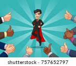 superhero businessman in vest... | Shutterstock .eps vector #757652797