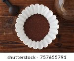 coffee filter and grounds on... | Shutterstock . vector #757655791