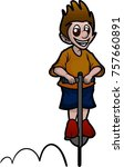 boy bouncing on pogo stick | Shutterstock .eps vector #757660891