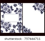 invitation with floral... | Shutterstock .eps vector #757666711