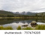 panoramic view of sprague lake  ... | Shutterstock . vector #757674205