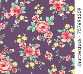 floral pattern in vector | Shutterstock .eps vector #757691209