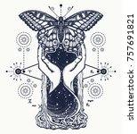 space hourglasses and butterfly ... | Shutterstock .eps vector #757691821