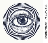 all seeing eye tattoo art... | Shutterstock .eps vector #757692511