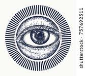all seeing eye tattoo art... | Shutterstock .eps vector #757692511