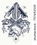 wild west art. human skull ... | Shutterstock .eps vector #757692535