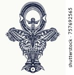 ankh and butterfly tattoo and t ... | Shutterstock .eps vector #757692565
