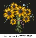 embroidery bouquet of...   Shutterstock .eps vector #757693705