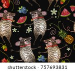 embroidery mouse seamless...   Shutterstock .eps vector #757693831