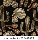 embroidery mexican culture...   Shutterstock .eps vector #757693921
