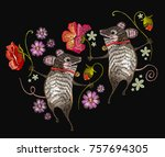 embroidery mouse. two cheerful...   Shutterstock .eps vector #757694305