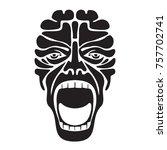 terrifying scream   extremely... | Shutterstock .eps vector #757702741