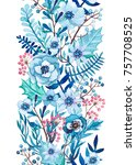 seamless border of watercolor... | Shutterstock . vector #757708525