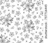 doodles christmas seamless... | Shutterstock .eps vector #757716445