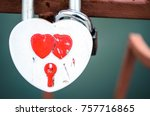 heart shaped padlock. locks of... | Shutterstock . vector #757716865