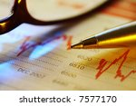 pen on newspaper stock... | Shutterstock . vector #7577170