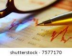 pen on newspaper stock... | Shutterstock . vector #7577170