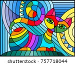 illustration in stained glass... | Shutterstock .eps vector #757718044