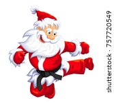 santa claus jumping kick in... | Shutterstock .eps vector #757720549