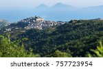 view of montalbano elicona and... | Shutterstock . vector #757723954