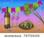 wine party concept illustration ... | Shutterstock .eps vector #757724155