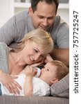 happy caucasian family at home  ... | Shutterstock . vector #757725247