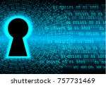 safety concept  closed padlock... | Shutterstock .eps vector #757731469