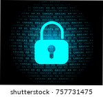safety concept  closed padlock... | Shutterstock .eps vector #757731475