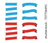 flat vector ribbons banners... | Shutterstock .eps vector #757736491