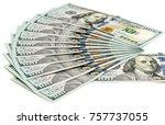 american dollar on white... | Shutterstock . vector #757737055