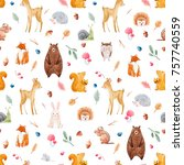 Stock photo watercolor pattern with cute animals forests pattern baby wallpapers deer squirrel fox bear 757740559
