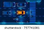 autonomous smart car scans the... | Shutterstock . vector #757741081