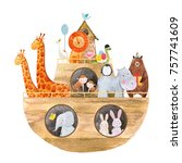 Stock photo children s watercolor illustration of a cute noah s ark with the animals holiday greeting card 757741609