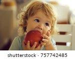 cute fair haired blond hazel...   Shutterstock . vector #757742485