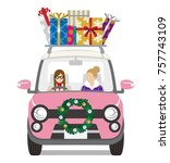 christmas decoration car loads... | Shutterstock .eps vector #757743109