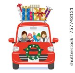 christmas decoration car loads... | Shutterstock .eps vector #757743121