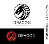 dragon logo template. | Shutterstock .eps vector #757743799