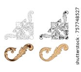 classical baroque vector set of ... | Shutterstock .eps vector #757748527