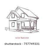 sketch of wooden house. vector... | Shutterstock .eps vector #757749331