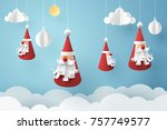paper art of santa claus hang... | Shutterstock .eps vector #757749577