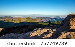 view on the roque nublo while... | Shutterstock . vector #757749739